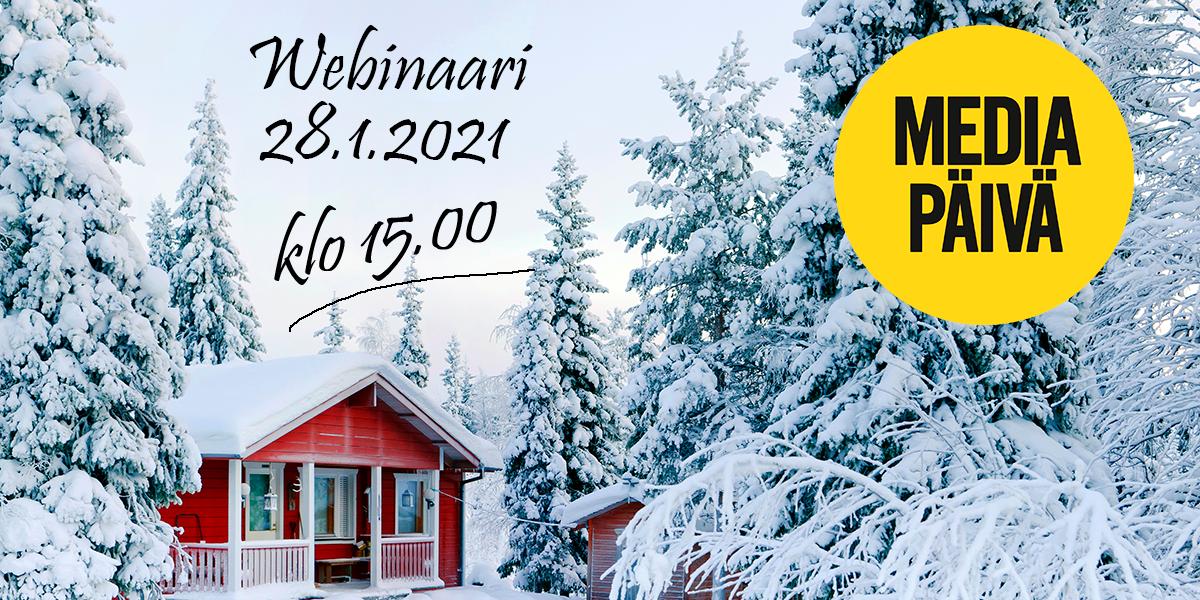 Punainen mökki talvimaisemassa sekä teksti webinaari 28.1.2021 klo 15.00.